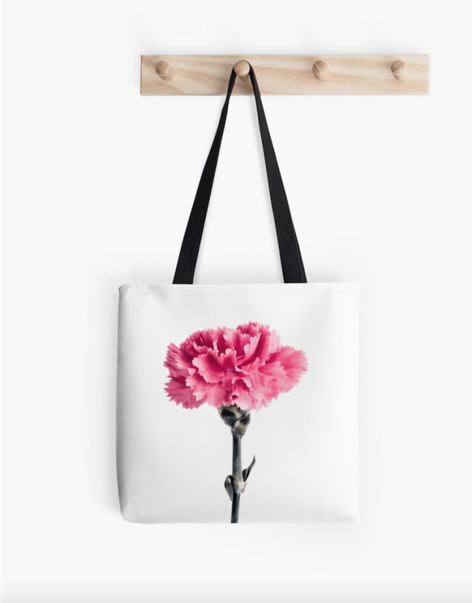 Carnation flower tote bag