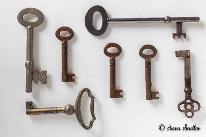Inspirational flat lay photography using old keys