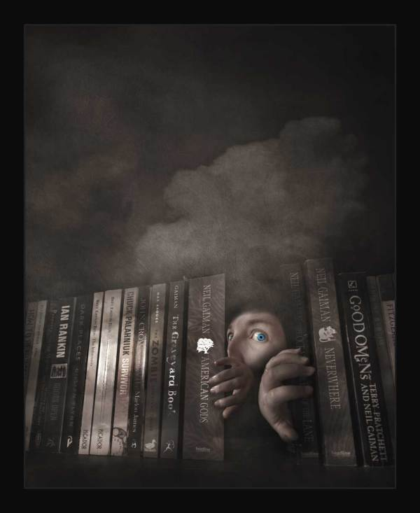 Strange fine art photograph of a person appearing from some books. created during the 2020 lockdown