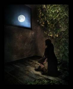 The Creepy room shows a lady sitting in a darkened room staring out the window to the moon.