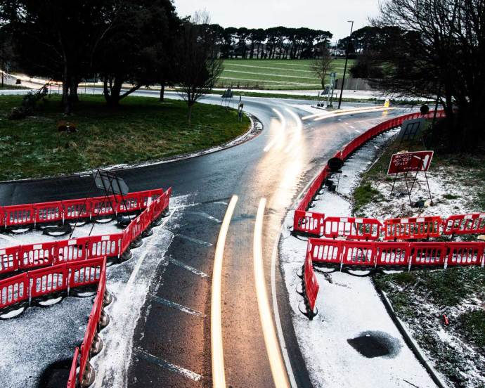 Changing landscapes -Construction of a new dual carriageway on a snowy day in the UK
