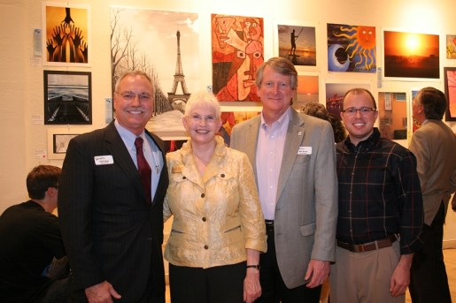 Education Foundation board chairman Peter Hayes, School Board member Caroline Zucker, Education Foundation immediate past chair Mike Bryant, Comcast's Justin Damiano.