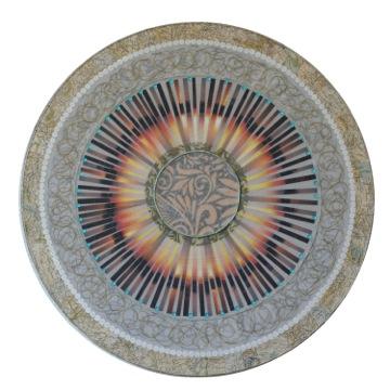 Meg Pierce, Rajasthan Mandala, 20 dia original photos, fabric, sequins, map acrylic on canvas