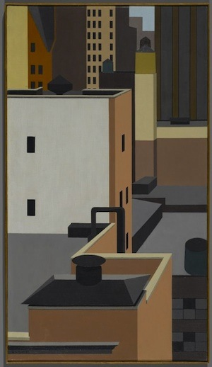 George Copeland Ault (American, 1891-1948). Manhattan Mosaic, 1947. Oil on canvas, 31 7-8 x 18 in. (81 x 45.7 cm). Brooklyn Museum, Dick S. Ramsay Fund, 66.127