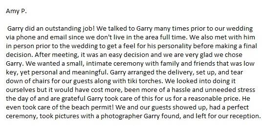 Officiant & Ceremony Review by SarasotaWeddingIdeas.com