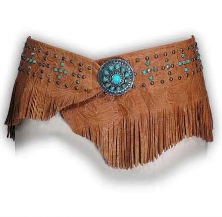 Patricia Wolf Tan Tooled Wrap Belt w/studs