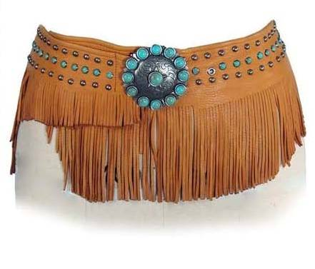 Patricia Wolf Bandalero Wrap Belt on Saddle Deerskin