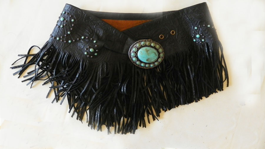 Patricia Wolf Black Turquoise Fringed Wrap Belt