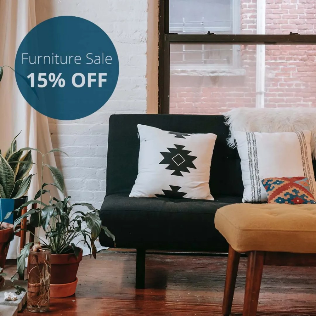 Furniture Sale 15% Off Instagram Graphic Designed By Sara Turbyfill.