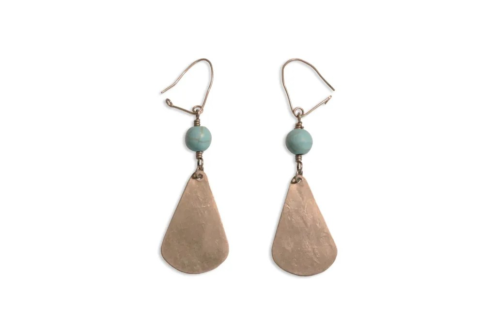 Silver Turquoise Earrings After Background Removed From Image.