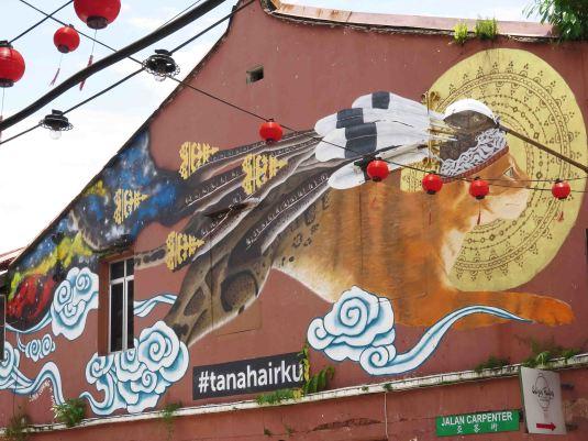 """""""Jumping Feline"""": street art in Carpenter Street, Kuching (SHS member photo)"""