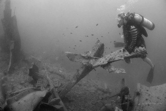 """""""A diver surveys a forlorn landscape of twisted metal structures, debris and rubble – all that is left of the WWII Japanese shipwreck Katori Maru after it was targeted by rogue metal salvag-ers last March"""". Photo credit: diver Valerie Chai, published in Borneo Post article. http://www.theborneopost.com/2016/05/28/historical-wwii-shipwreck-destroyed-by-metal-salvagers/ - 28 May 2016."""