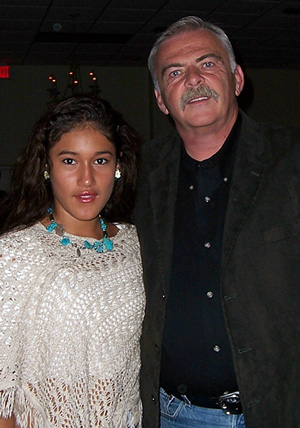 Blair Rudes with Q'Orianka Kilcher, the actress who portrayed Pocahontas in the film, The New World.