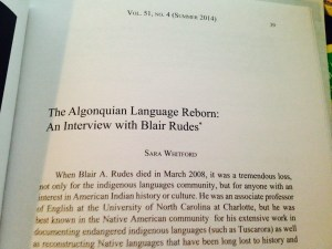 The Algonquian Language Reborn: An Interview with Blair Rudes
