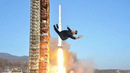 Supreme leader Kim Jong-un bravely riding a missile for the sick GoPro footage