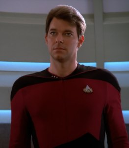 Hey, just because I'm wearing red doesn't mean I'm going to die! I'm not an ensign! (Image courtesy of the Star Trek Wiki)