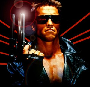 "Arnold Schwarzenegger Fun Fact: Terminator was the first time he'd ever say ""Your clothes...give them to me"" but it wouldn't be the last, just ask the maid. (Image courtesy of the Terminator Wiki)"