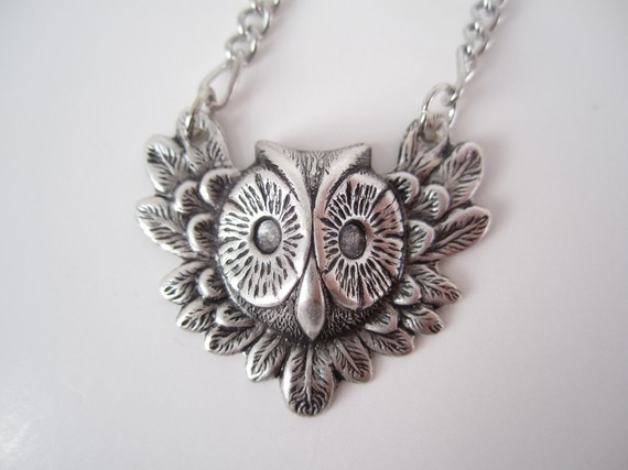 Ruffled Feathers Owl Necklace by BigBisous