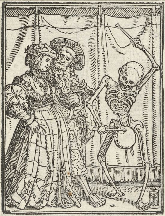 1523-4 woodblock of a skeleton playing a drum next to a well dressed man and woman