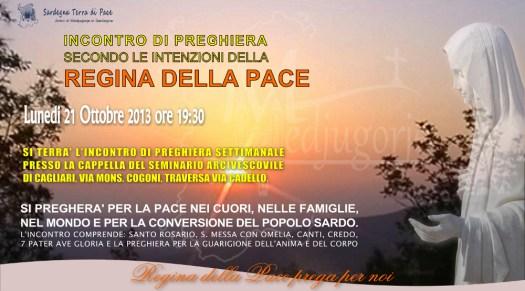 Locandina Incontro di Preghiera Settimanale del 21 Ottobre 2013