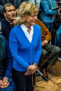 Il sorriso di Mirjana durante l'apparizione del 2 Ottobre 2014 - Foto di Mateo Ivanković – Tutti i diritti riservati