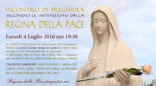 Locandina Incontro di Preghiera Settimanale del 04 Luglio 2016