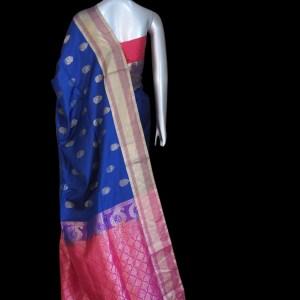 Shope Navy Blue Kanjivaram Soft Silk Sareec - sareesansarvns