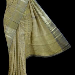 Kanjivaram Ceremonial Flaxen Saree