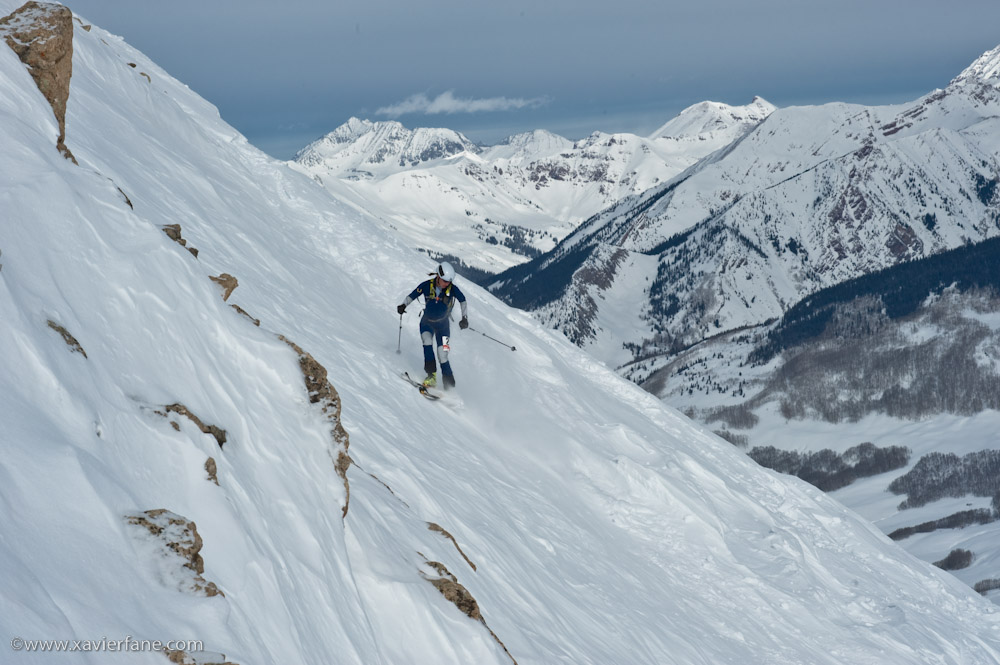 Skiing the Peel at the beginning of the last descent.