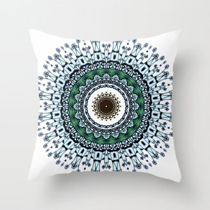 Throw pillow cover, Ink and pen drawing Blue Mandala, 16x16,18x18,20x20 inches,home decoration,decorative pillow,mandala decoration