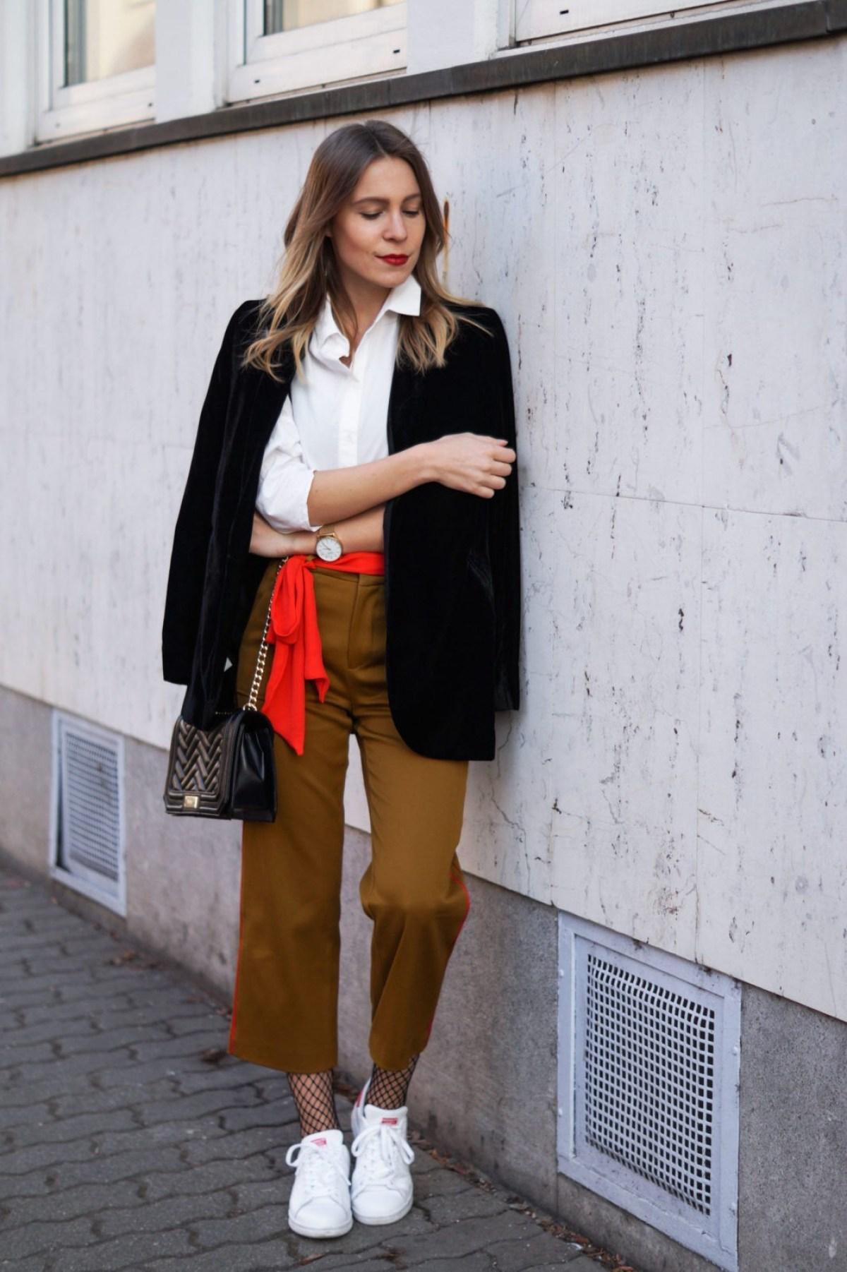 f273f51a Berlin FW   Zara Mustard Pants X Velvet Blazer & A Pop of Red - Sariety