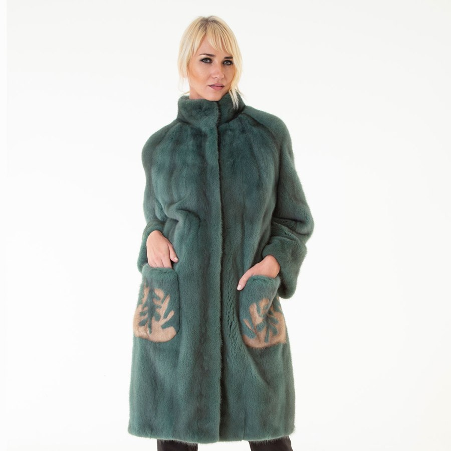 Green Mink Fur Jacket - pockets with terra drawing | Sarigianni Furs