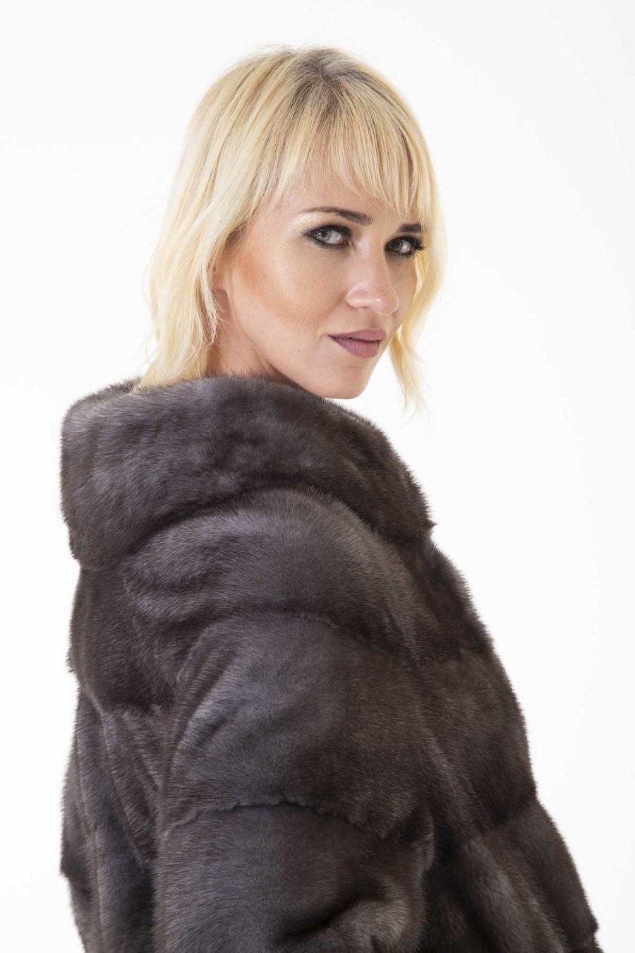 Пальто из меха норки цвета Блу Ирис   Sarigianni Furs