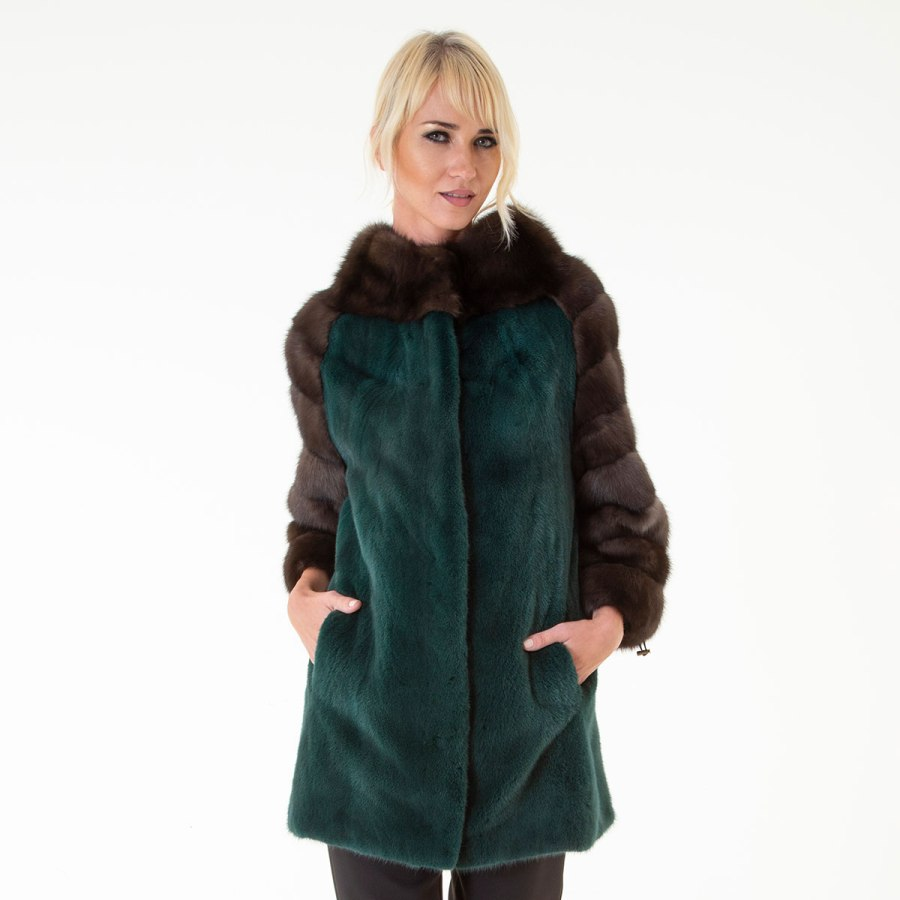 Shock Green Mink Fur Jacket | Пальто из меха норки цвета Shock Green - Sarigianni Furs