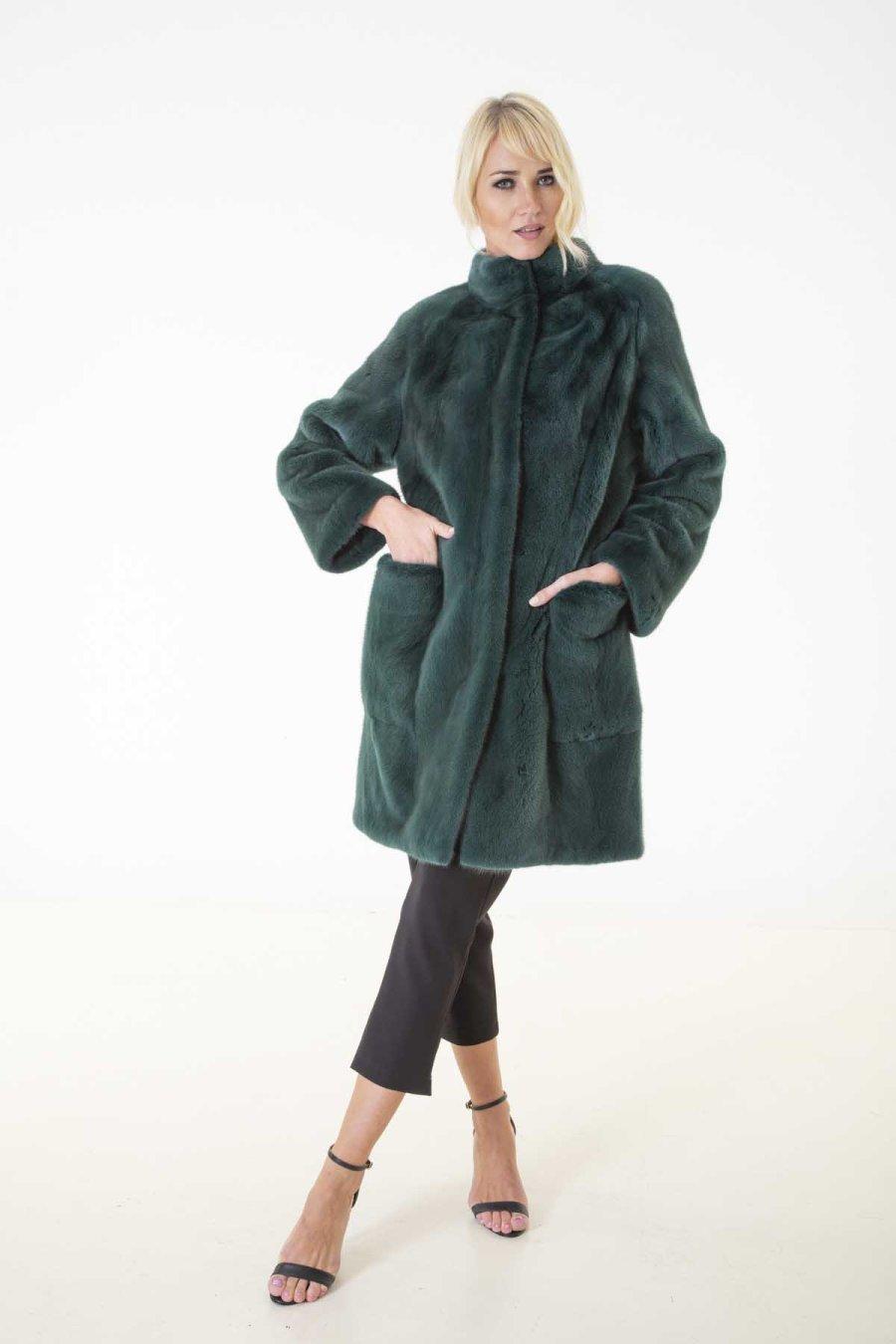 Shock Green Male Mink Fur Jacket | Пальто из норки цвета Shock Green - Sarigianni Furs