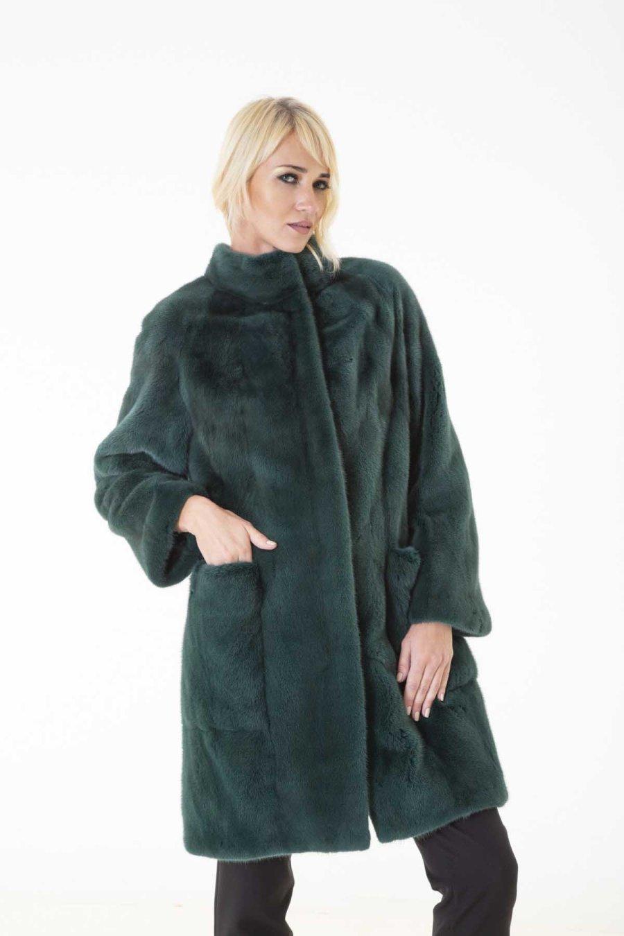 Shock Green Male Mink Fur Jacket   Пальто из норки цвета Shock Green - Sarigianni Furs