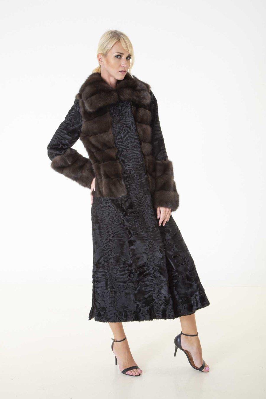 Black Swakara Fur Coat | Sarigianni Furs