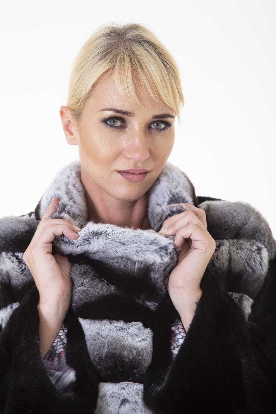 Chinchilla Fur Jacket | Пальто из меха шиншиллы с воротником стойкой - Sarigianni Furs