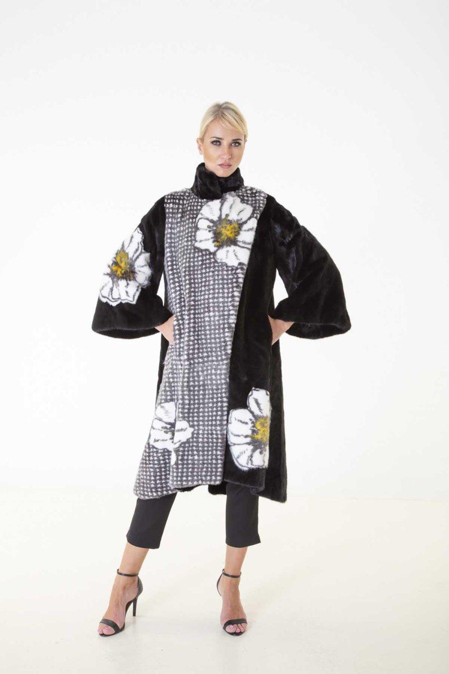 Blackglama Mink Coat with flower print | Sarigianni Furs
