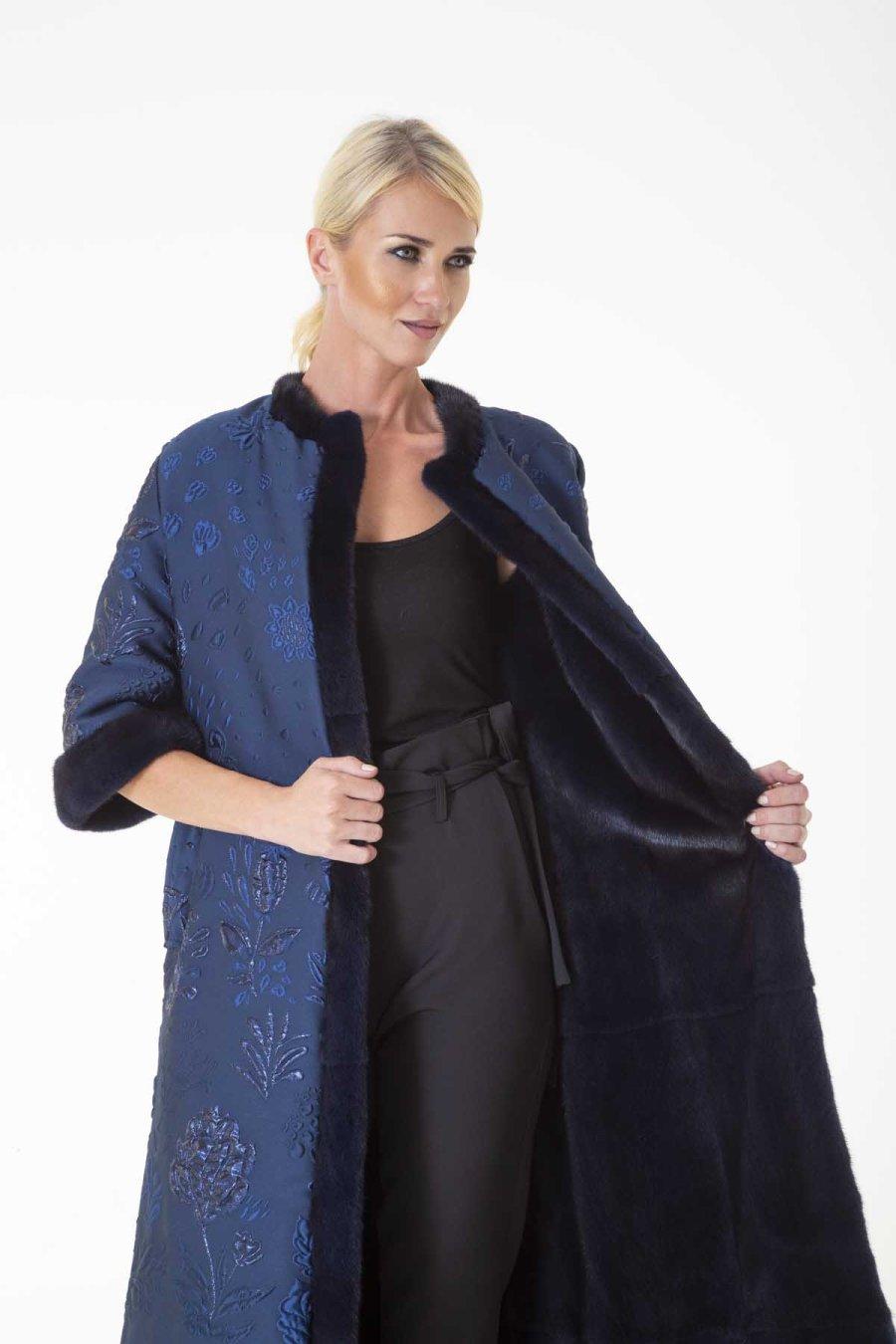 Royal Blue Male Mink and Fabric Coat | Sarigianni Furs