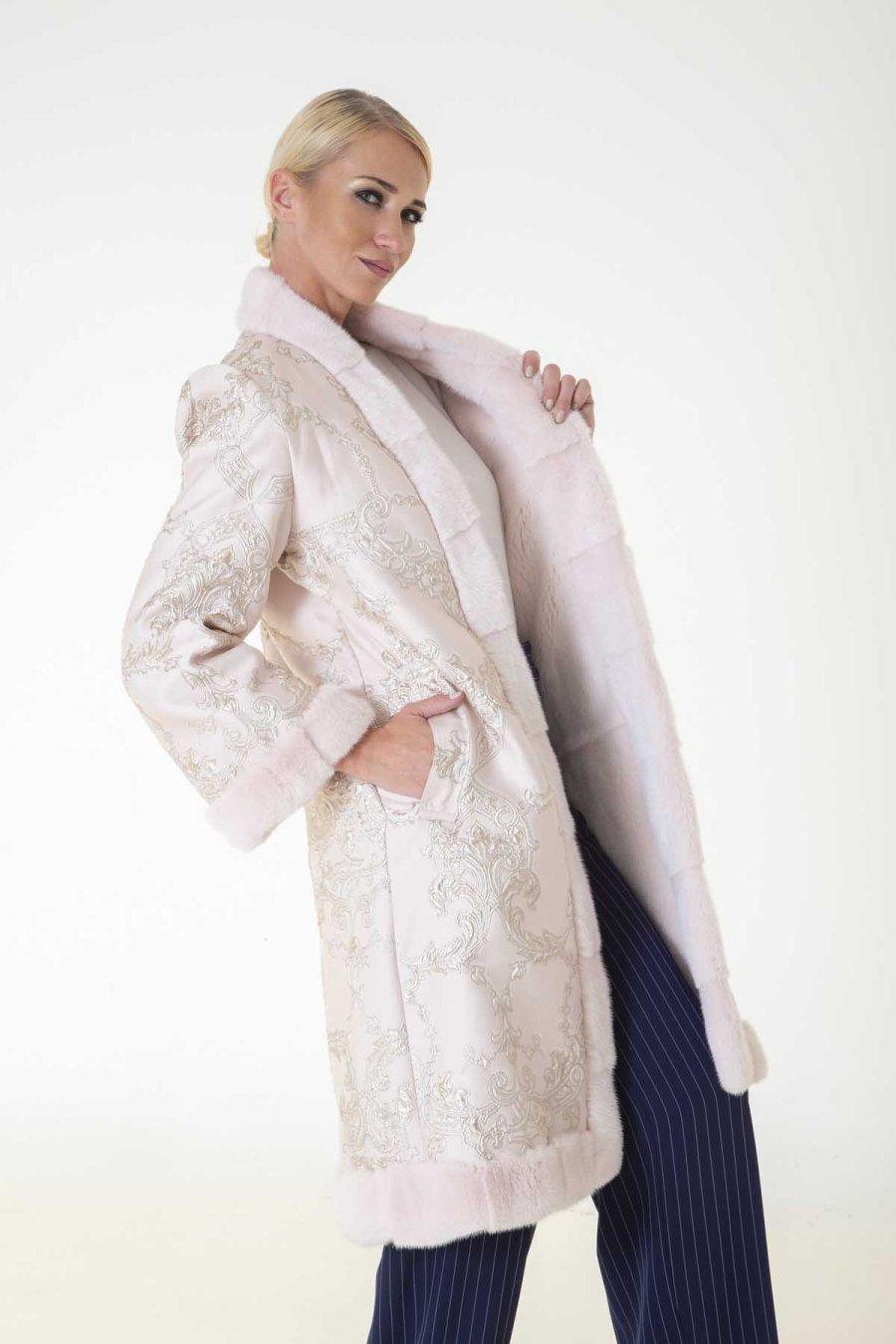 Rosa Scuro Male Mink and Fabric Jacket | Sarigianni Furs