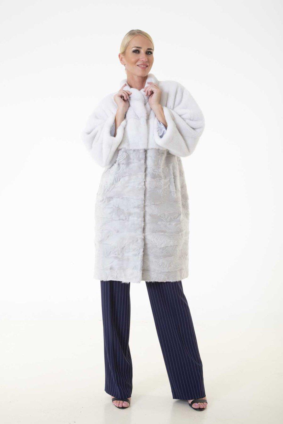 Violet Male Mink and Swakara Jacket | Пальто из меха норки и Свакары - Sarigianni Furs