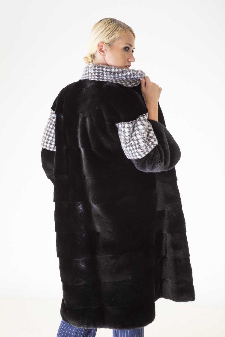 Blackglama Coat with Pied de poule print | Sarigianni Furs