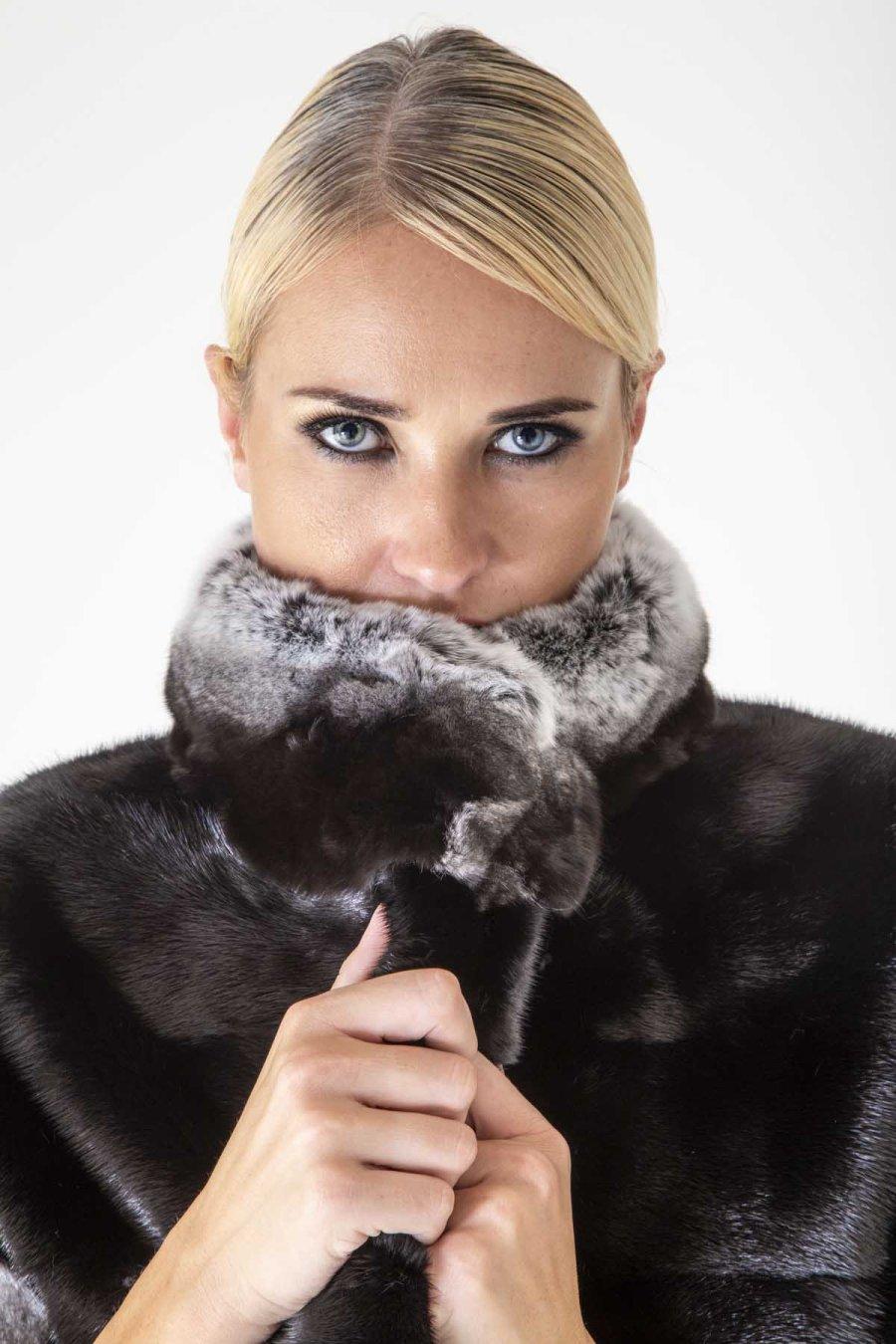 Blackglama Male Mink A.L.C. Jacket | Пальто из норки Blackglama с воротником из шиншиллы - Sarigianni Furs