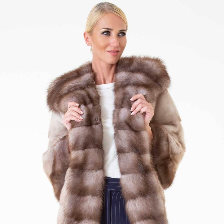 Tatiana Lavender Male Mink Jacket with Hood | Татьяна - Пальто из меха норки с капюшоном - Sarigianni Furs