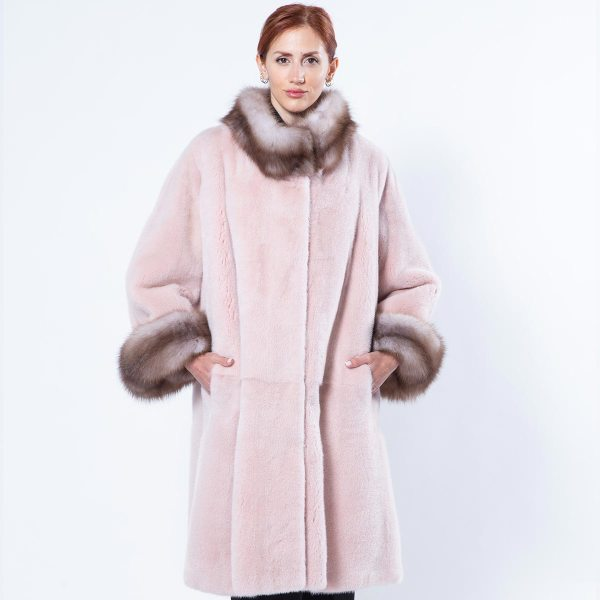 Antique Rose Mink Coat with Marten cuffs | Sarigianni Furs