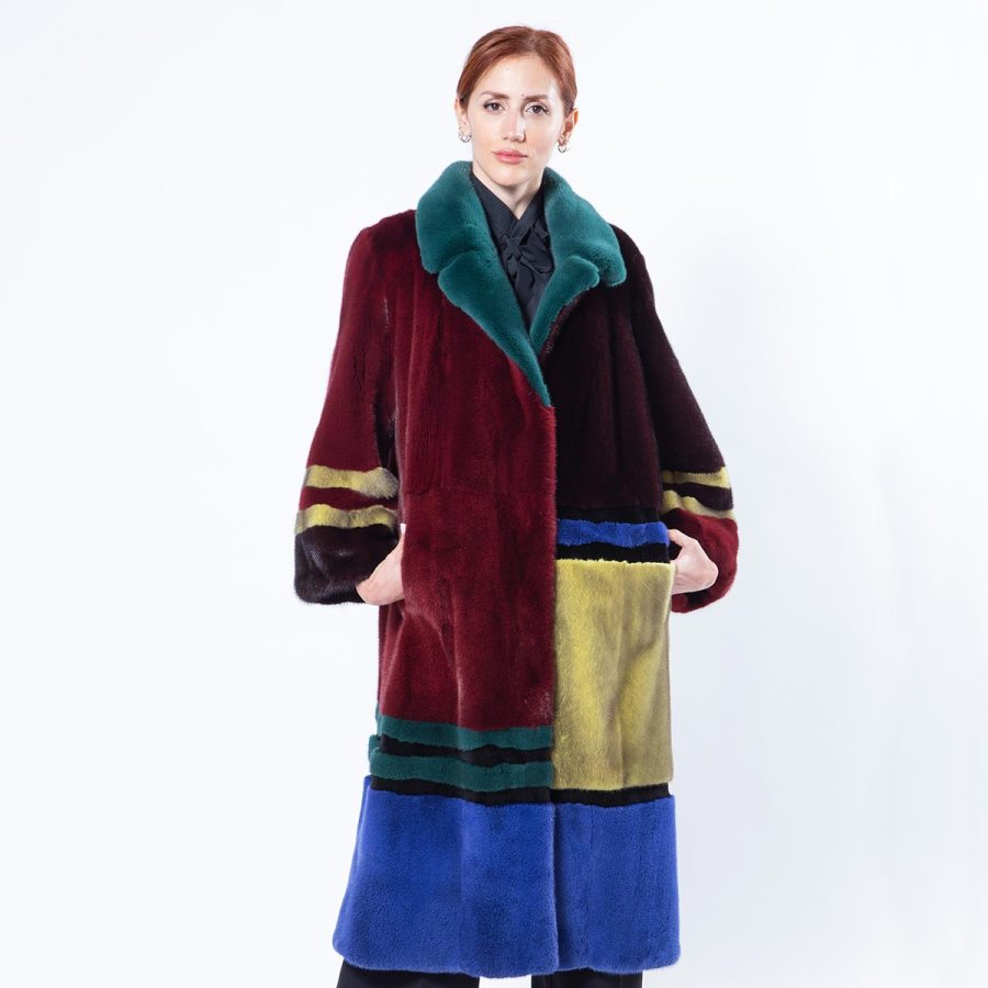 Multi-coloured Mink Coat - Sarigianni Furs