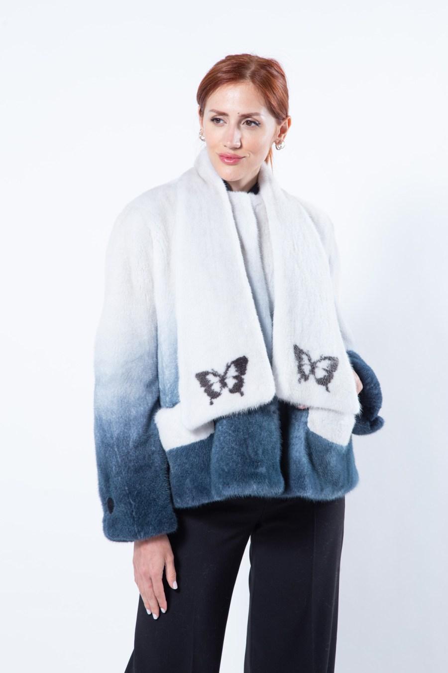 Blue Degrade Mink Jacket | Sarigianni Furs