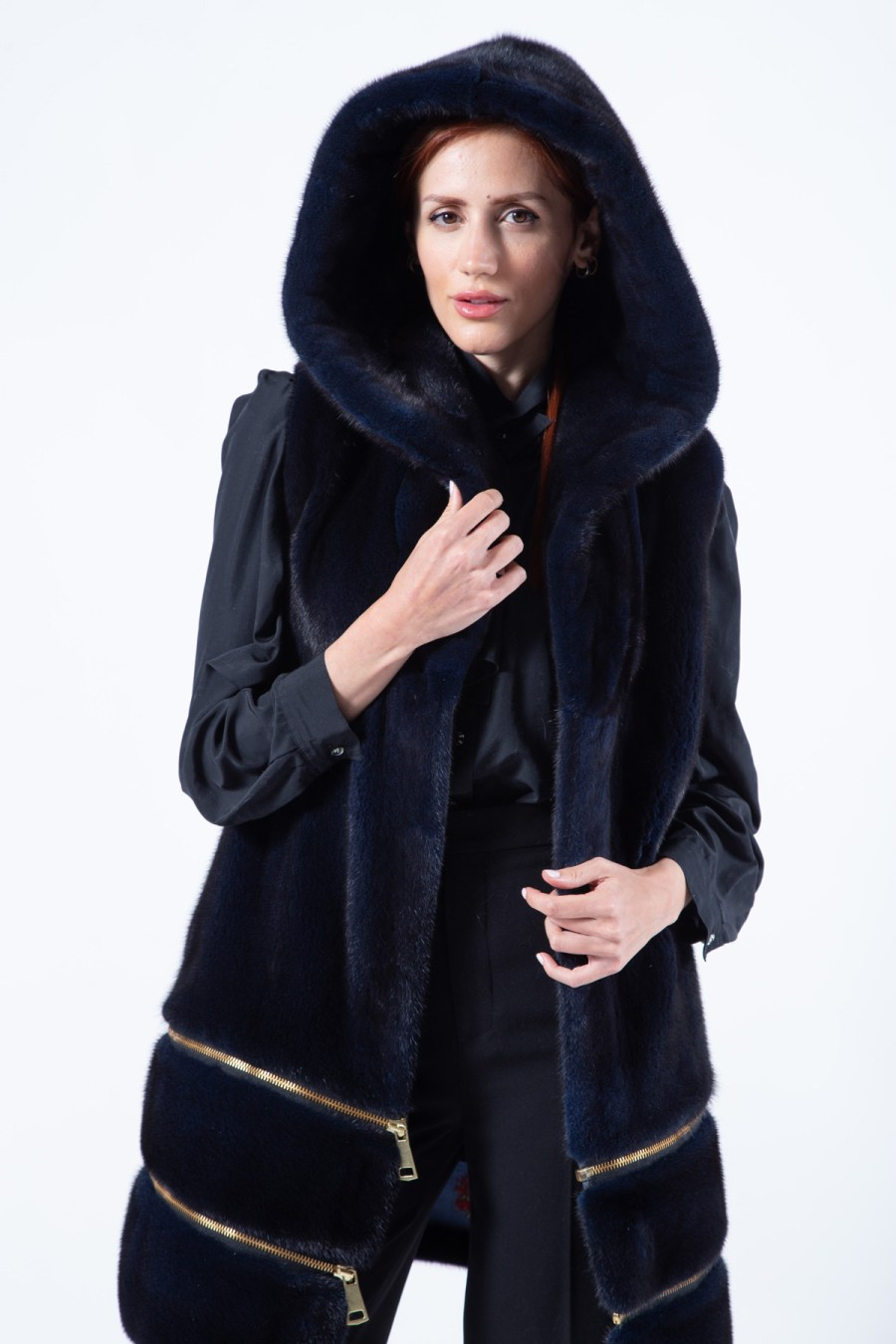 Double-faced Royal Blue Mink Vest with Hood | Sarigianni Furs