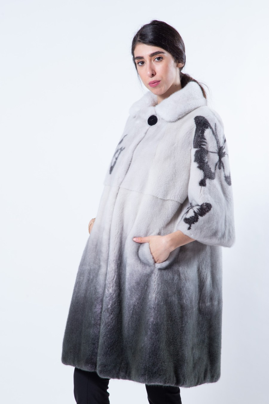 Black Degrade Mink Jacket   Sarigianni Furs